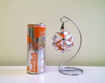 Red Bull Total Zero Orange Edition Energy Drink Origami Ornement. Upcycled Recycled Repurposed Art