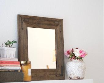 Reclaimed Wood Mirror - Framed Mirror - Bathroom Mirror - 18 x 18 - Hurd and Honey - Handmade Mirror - Wooden Mirror - Rustic Modern