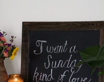 Chalkboard- Gift for Her - Kitchen Chalkboard - Reclaimed Wood Framed - Wedding Chalkboard - Decorative Chalkboard - Fall Sign - 18 x 24