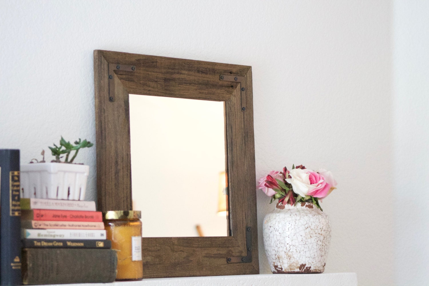 reclaimed wood mirror framed mirror bathroom by hurdandhoney 20112