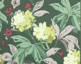 REMNANT of Vintage Wallpaper, Single 32 Inch Piece - Segmant of Floral Wallpaper with Chartruese Hydrangeas and Burgundy Flowers on Green