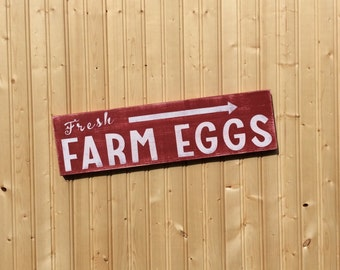 Fresh Farm Eggs Sign Wood Hand Painted Rustic Farmhouse Sign