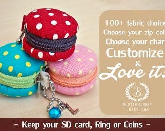 Mini Macaroon purse, mini keychain, mini keyring , Mini pouch , Polka dot , small coin purse, mini coin purse , mini key chain
