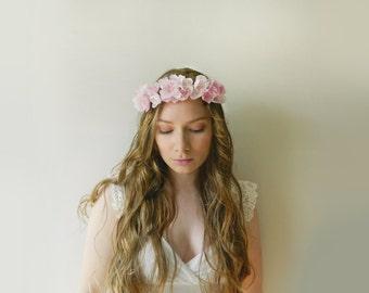 Handmade Blush Silk Flower Headpiece - Hand Cut and Pressed Pink Silk Flowers - style 008