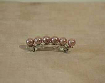 Beaded barrette in dusty pink, with glass pearl beads and silver tone wire, dusty pink hair barrette, dusty pink bridal barrette