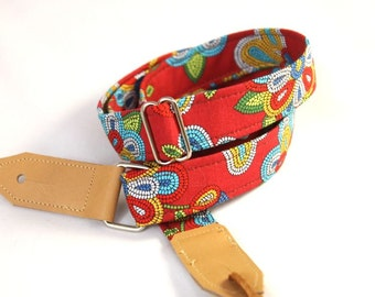 Fiesta Red Ukulele Strap with Leather Ends