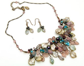 Blue and Purple Bib Necklace Set, Rustic Wedding Jewelry, Purple Bridal Necklace, Purple Leaf Necklace, Beaded Necklace, Fairy Jewelry N528