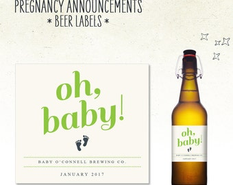 Pregnancy Announcement - Beer Bottle Label // Oh Baby // (Personalized) brewing co