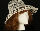 Crochet sun hat Wide brim crocheted lace hats Beach Bohemian hat Boho summer hat Victorian crochet hat White cotton floppy hat Garden party