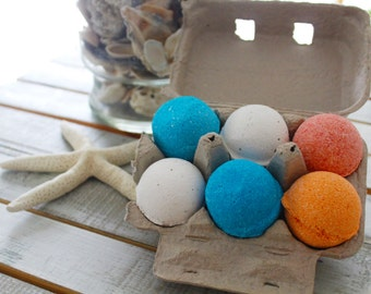 6 Bath Bombs in Recycled Paper Vintage Egg Carton