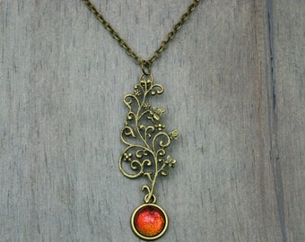 Misha - Color Shifting - Floral and Butterfly Antique Bronze Necklace - Red Gold Green Blue