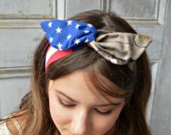 Hunter American Headbnd, Realtree Camo American Dolly bow,Patriotic Flag head band, hair bow A1
