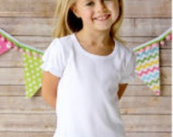 Short Sleeve Ruffle Shirt, Embroidery Blank