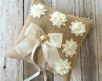 rustic burlap ring bearer pillow with ivory flowers and vintage button