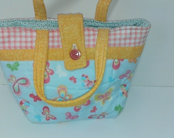 Handmade Easter purse, young girls tote, quilted kids tote with button closure, girls quilted bag