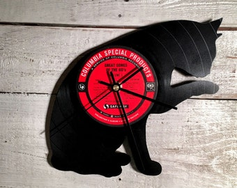 Cat Clock | Vinyl Record • Upcycled Recycled Repurposed • Handmade • Shadow Art Decor • Silhouette • Unique Gift