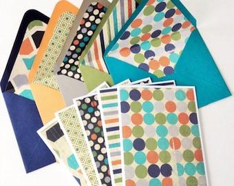 Set of 5 // Blank Note Card Set // Masculine Stationery // Blank Stationery // Patterned Envelopes // Boy Baby Shower // Lined Envelopes