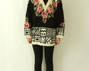 Vintage 1980's FLORAL & GEOMETRIC Print Turtleneck Varsity Sweater 80s Club Kid New Wave KAWAII Soft Grunge Abstract Flower Pullover Jumper