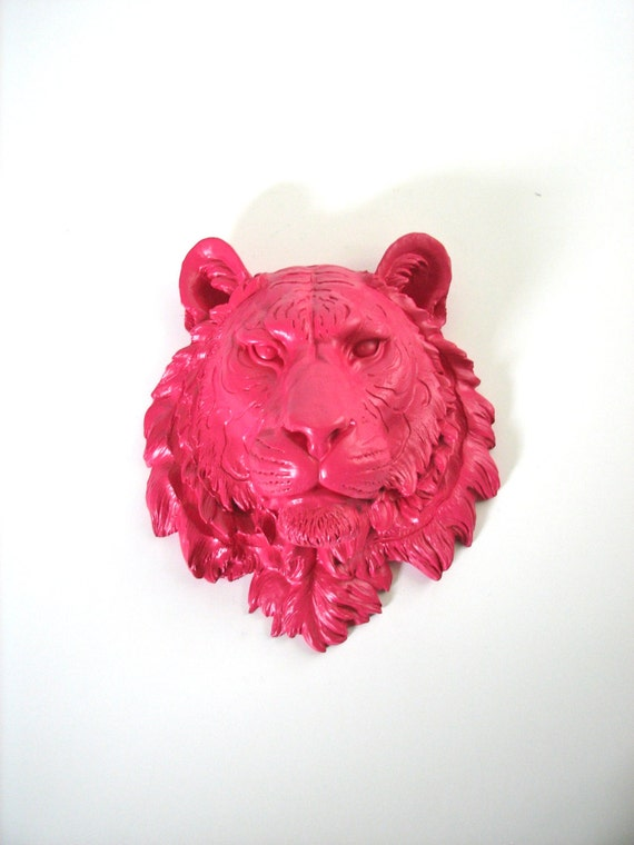 HOT PINK Large Faux Taxidermy Tiger Head Wall Hanging: Tommy the Tiger hot pink // jungle / office / kids room / nursery / wild cat / safari