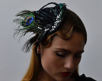 Midnight Noir Hair Comb - 1920s & 1930s inspired flapper hair comb, Gatsby, Art Deco, vintage inspired hair accessory