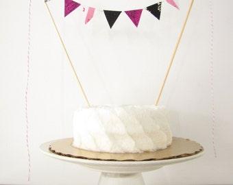 Pink & Black Cake Topper - Fabric Cake Bunting - Wedding, Birthday, Garden Party, Shower Decoration magenta music notes dance sweet sixteen