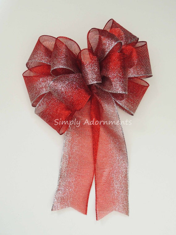 Silver Red Valentine Wreath Bow Red Silver Christmas Wreath Bow Red Silver Winter Christmas Teardrop Swag Bow Silver Red Wedding Pew Bow