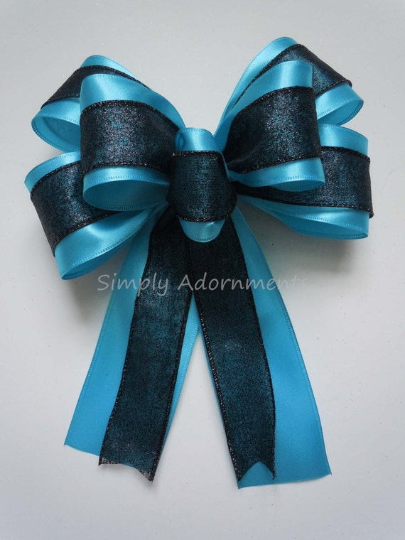 Black Blue Wreath Bow Carolina Panthers Bow Super Bowl Wreath Bow Super bow Party Decor Panthers Home Decor Panthers Gift Bow