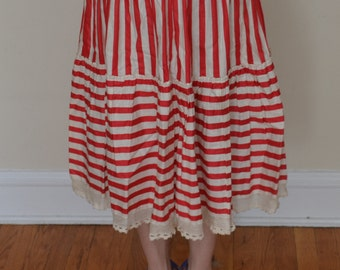 1940s Handmade Red and White Striped Skirt