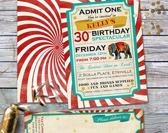Carnival Birthday Invitation and Address Labels - Milestone 30th Birthday - Vintage, Retro Design - Custom & Personalized