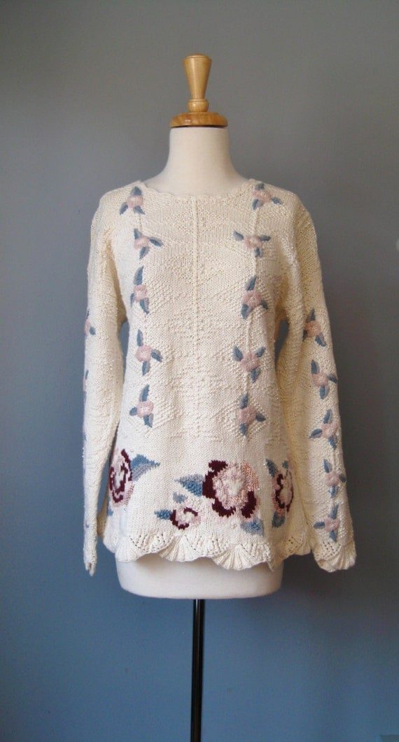 Embroidered Sweater / Vtg 80s / Marisa Christina Long Ivory Embroidered Sweater Flowers and Pearls