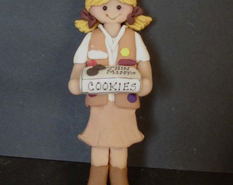 Brownie Scout Awards Christmas Ornament Vest Thin Mint Cookie Box Troop Leader Sash Patches Polymer Clay Ornament Cake Topper Uniform