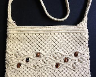 1970s Natural Macrame Shoulder Bag Wooden Beads