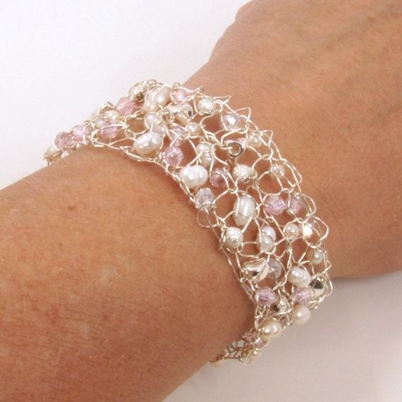 Silver Mesh Jewelry - Crystal Cuff Bracelet - June Birthstone Jewelry - Silver Cuff Bracelet for Women - Rustic Crystal Cuff Bracelet