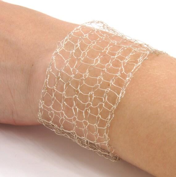 Sterling Silver Bracelet - Metallic Lace Cuff - Romantic Feminine Jewelry - Sterling Silver Cuff - Silver Mesh Bracelet Contemporary Jewelry