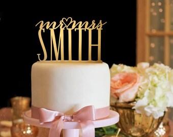 Mr and Mrs Wedding Cake Topper - Gold Cake Topper - Heart Cake Topper