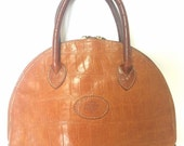 Vintage Mulberry croc embossed brown leather mini tote in bolide bag shape. Masterpiece back in the era. Roger Saul era