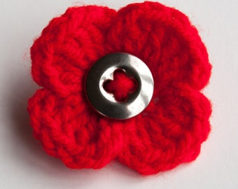 Red Poppy Crochet Flower Brooch with Vintage Metal Button