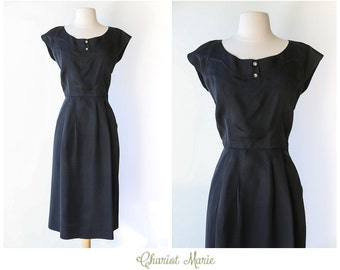 Vintage 1950's Wiggle Dress - Classic Little Black Dress - Elegant Vintage Dress with Jewel Buttons - Size Small