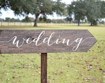 Wedding Signs Wood, Wedding Arrow Sign, Wooden Wedding Signs, Wedding Directional Signs, calligraphy wedding Sign
