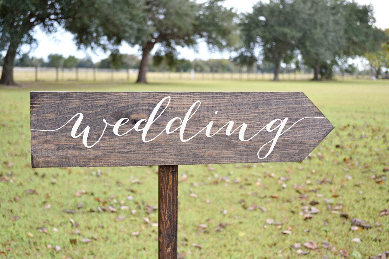 Wedding Signs Wood Wedding Arrow Sign Wooden Wedding Signs