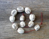 Brown And White Porcelain Beads ,Neutral Colors ,Organic  Ceramic  Beads ,  Jewelry Supplies