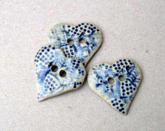 Heart Buttons, Indigo Blue And White   Buttons , Sewing Buttons