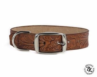 Leather Dog Collar, Embossed Leather Dog Collar, Leather Pet Collar. 1 Inch Wide Embossed Leather Dog Collar