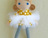 Reserved for Karla - Fabric Doll Rag Doll Light Brown Haired Girl in Yellow Polka Dotted Dress with Fairy Wings and Tutu and Star Skirt