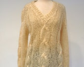 "Italian Hand-Knitted Wool/Mohair V-Neck Sweater - ""Dantina Fashion's"""