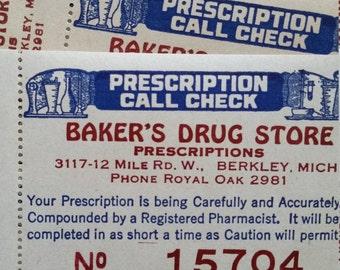 Antique Drug Store Pharmacy Prescription Call Checks