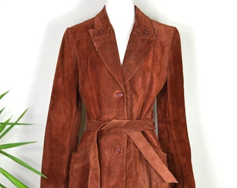 Vintage Reddish Brown Leather Jacket / 1970s Buttery Soft Suede Coat