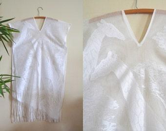 REDUCED PRICE vintage white poncho w/ fringe / 70s giraffe safari themed kimono / asymmetric see through festival shaw