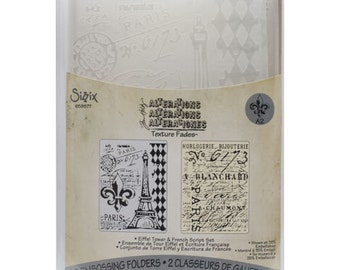 Sizzix-Tim Holtz Texture Fades Embossing Folders - Eiffel Tower & French Script Set