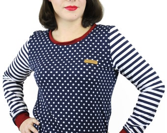 sweater pullover dots stripes darkblue white red